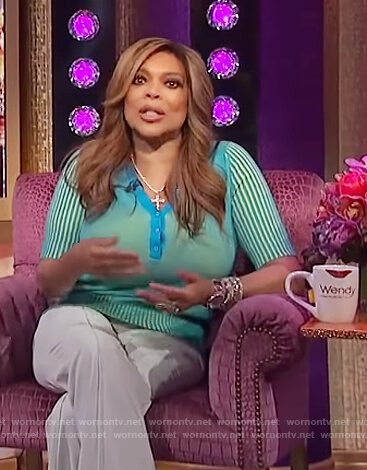 Wendy's turquoise knit polo and pants on The Wendy Williams Show