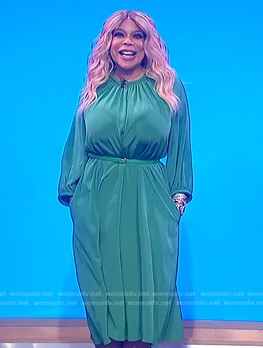 Wendy's green midi dress on The Wendy Williams Show