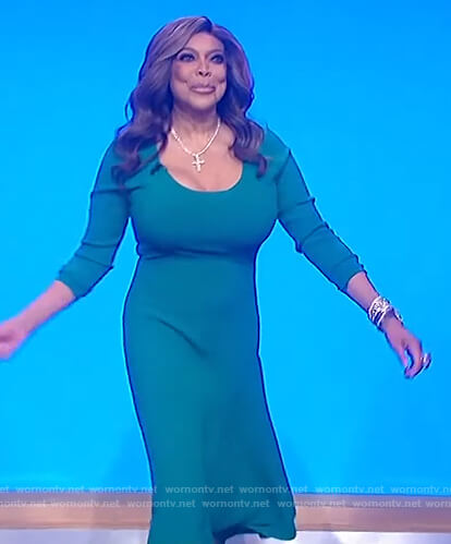 Wendy's teal scoop neck dress on The Wendy Williams Show