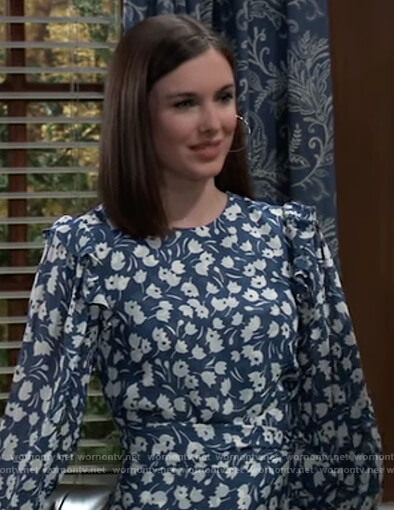 Willow's blue floral dress on General Hospital