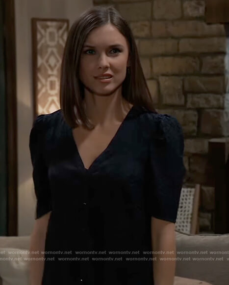 Willow's blue leopard print v-neck top on General Hospital
