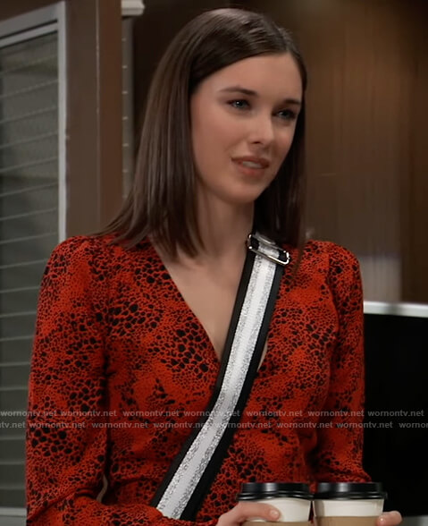Willow's red printed blouse on General Hospital