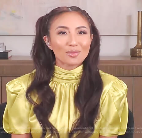 Jeannie's yellow satin mock neck top on The Real