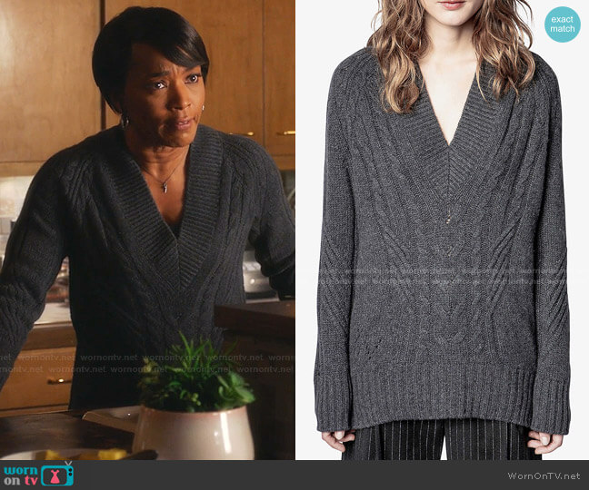 Elly V-Neck Cashmere Jumper by Zadig & Voltaire worn by Athena Grant (Angela Bassett) on 9-1-1