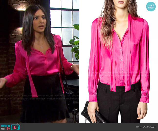 Taos Satin Blouse by Zadig & Voltaire worn by Gabi Hernandez (Camila Banus) on Days of our Lives