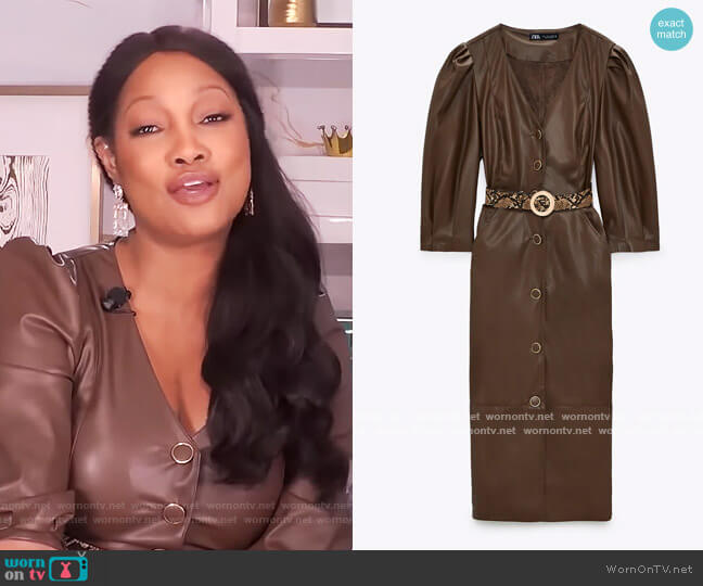 Belted Faux Leather Dress by Zara worn by Garcelle Beauvais  on The Real