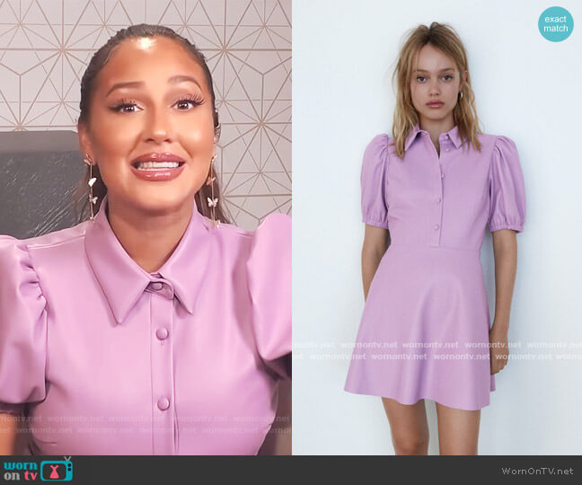 Faux Leather Mini Dress by Zara worn by Adrienne Houghton  on The Real