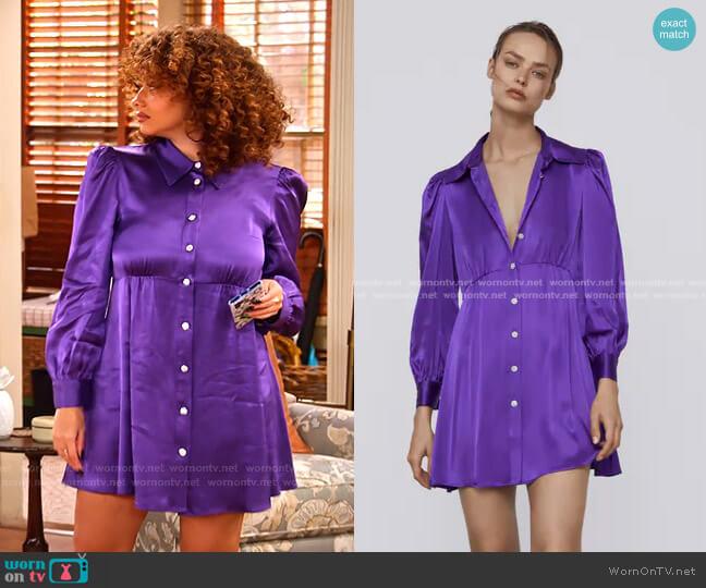 Satin Effect Dress by Zara worn by Jade (Talia Jackson) on Family Reunion