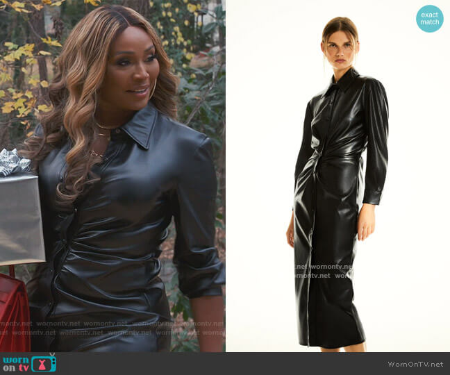 Faux Leather Shirt Dress by Zara worn by Cynthia Bailey  on The Real Housewives of Atlanta