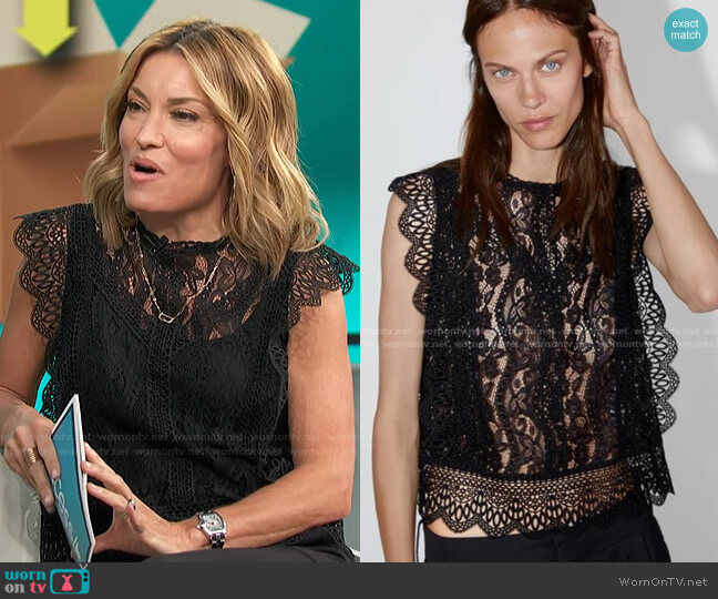 Guipure Lace Top by Zara worn by Kit Hoover  on Access Hollywood