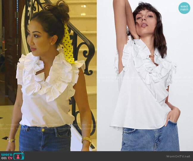 Ruffle Poplin Shirt by Zara worn by Tiffany Moon  on The Real Housewives of Dallas