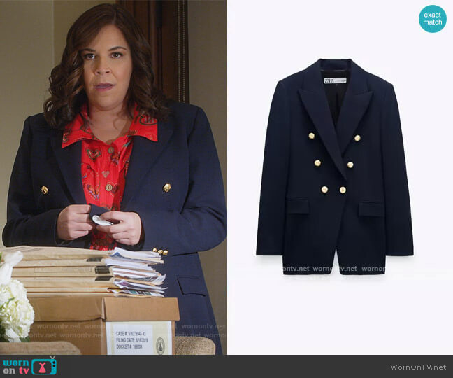 Tailored Blazer with Buttons by Zara worn by Sara Castillo (Lindsay Mendez) on All Rise