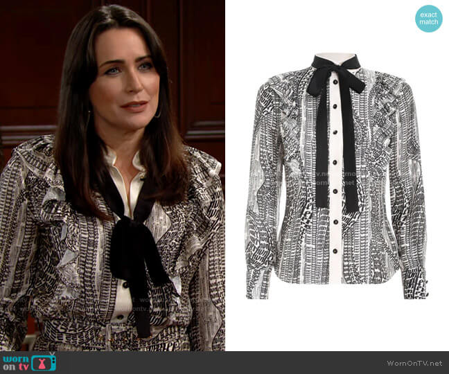 Zimmermann Botanica Flowing Text Shirt worn by Quinn Fuller (Rena Sofer) on The Bold & the Beautiful