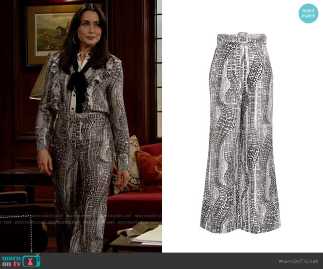 Zimmermann Botanica Flowing Text Trouser worn by Quinn Fuller (Rena Sofer) on The Bold & the Beautiful