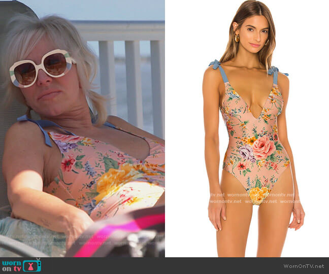 Zinnia Tie Shoulder One Piece by Zimmermann worn by Margaret Josephs  on The Real Housewives of New Jersey