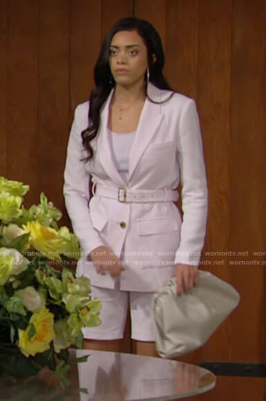 Zoe's light pink blazer and shorts on The Bold and the Beautiful