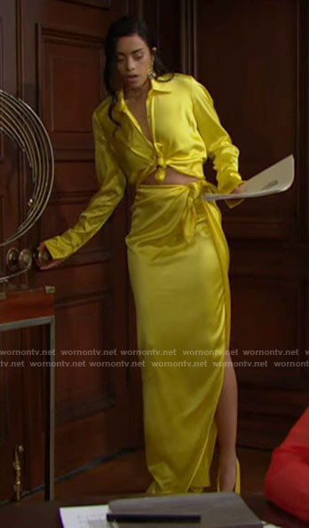 Zoe's yellow satin tie waist shirt and maxi skirt on The Bold and the Beautiful
