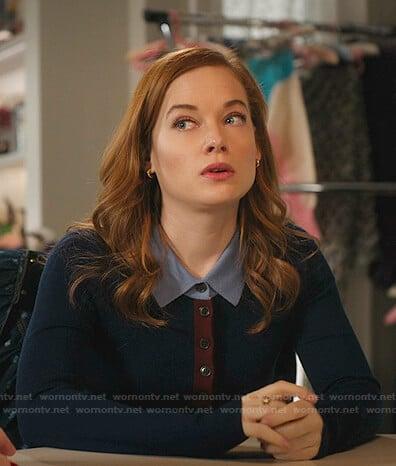 Zoey's blue constrast polo sweater on Zoeys Extraordinary Playlist