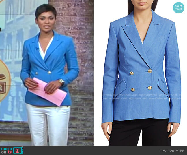 Derek Lam 10 Crosby Rodeo Double-Breasted Stretch-Silk Jacket worn by Jericka Duncan  on CBS This Morning
