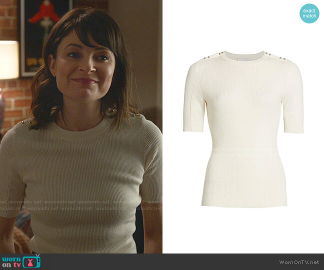 Buttoned Shoulder RIbbed Knit Top by 3.1 Phillip Lim worn by Taylor Rentzel (MacKenzie Meehan) on Bull