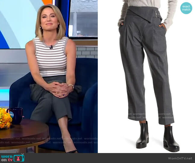 Belted Overlap Flap Pants by 3.1 Phillip Lim worn by Amy Robach  on Good Morning America