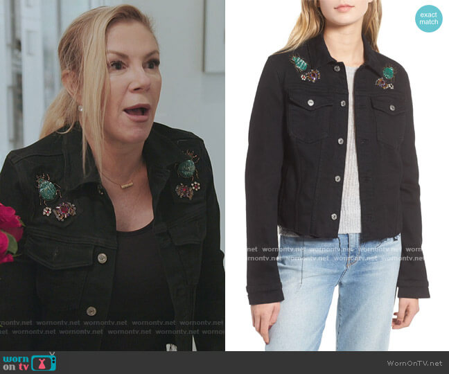 Embellished Denim Jacket by 7 For All Mankind worn by Ramona Singer  on The Real Housewives of New York City