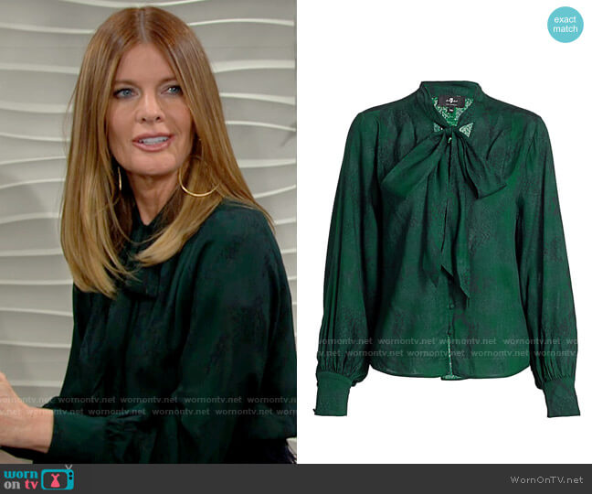 7 For All Mankind Tie-Neck Python Print Blouse worn by Phyllis Summers (Michelle Stafford) on The Young & the Restless