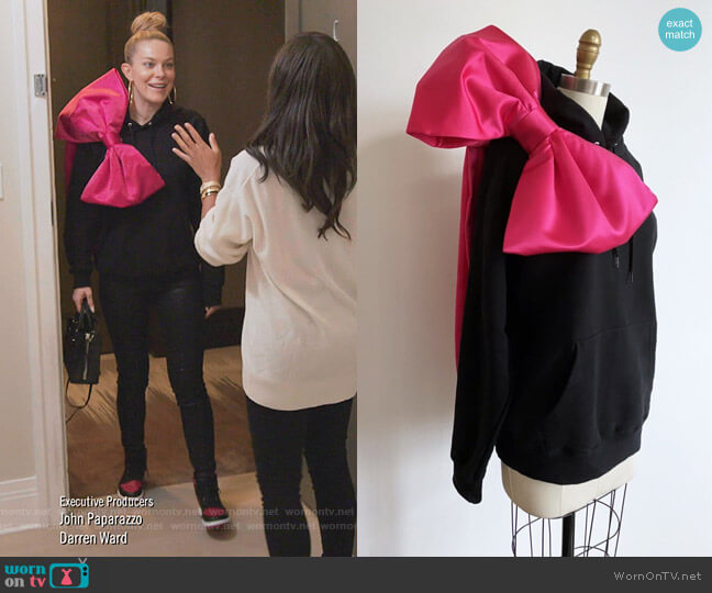 The Bow Hoodie by 9-5 Socialite worn by Leah McSweeney  on The Real Housewives of New York City