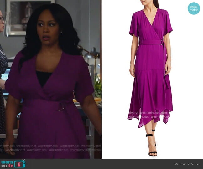 Claire Silk Wrap Dress by A.L.C. worn by Lola Carmichael (Simone Missick) on All Rise