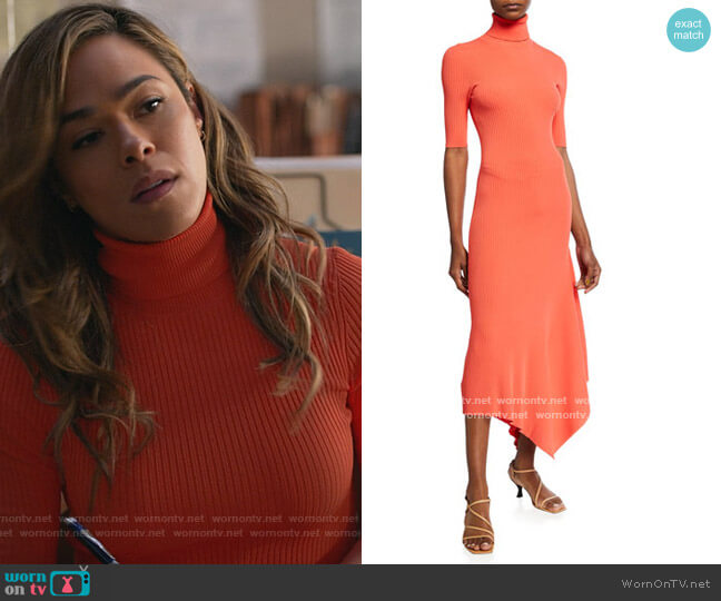 Erynna Turtleneck Handkerchief Midi Dress by A.L.C. worn by Emily Lopez (Jessica Camacho) on All Rise