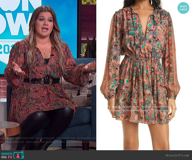 Jolene Floral Long Sleeve Silk Dress by A.L.C. worn by Kelly Clarkson  on The Kelly Clarkson Show