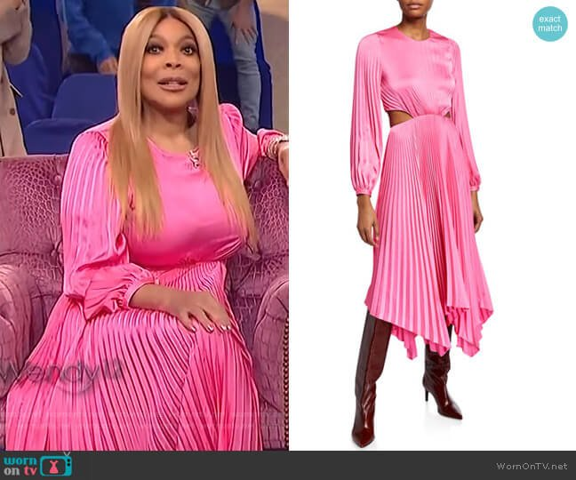 Naples Pleated Cutout Handkerchief Dress by A.L.C. worn by Wendy Williams  on The Wendy Williams Show