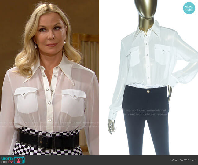 Alessandra Rich Georgette Bodysuit worn by Brooke Logan (Katherine Kelly Lang) on The Bold & the Beautiful