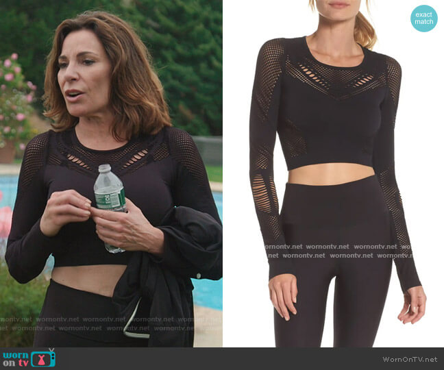 Siren Long Sleeve Crop Top by Alo worn by Luann de Lesseps  on The Real Housewives of New York City