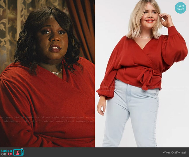 Wrap Knitted Jumper by Asos Curve worn by Mo (Alex Newell) on Zoeys Extraordinary Playlist