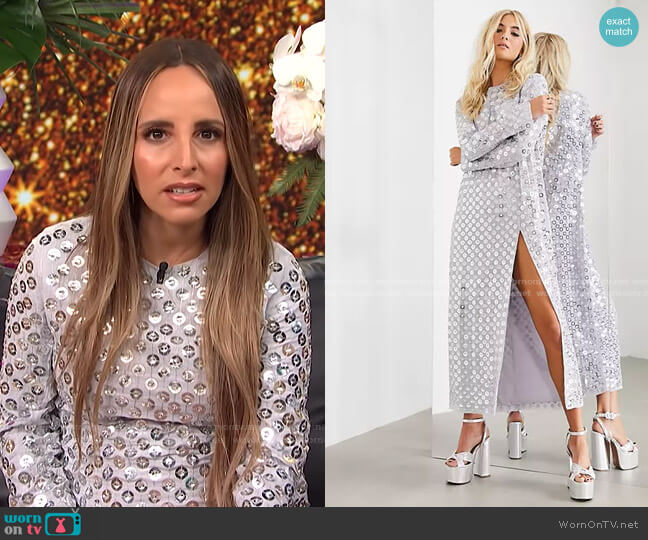 Split Front Maxi Dress with Mirror Disc Sequins by Asos worn by Lilliana Vazquez  on E! News