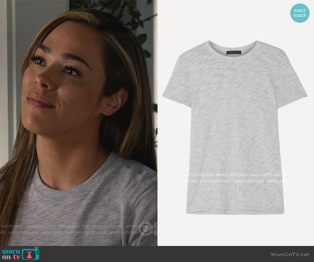 Schoolboy slub Supima cotton-blend jersey T-shirt by ATM Anthony Thomas Melillo worn by Emily Lopez (Jessica Camacho) on All Rise