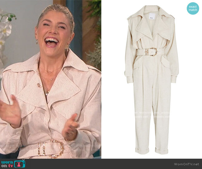 Hanbury Belted Cotton-Blend Jumpsuit by Acler worn by Amanda Kloots  on The Talk