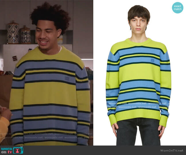 Green & Blue Wool Striped Sweater by Acne Studios worn by Andre Johnson Jr (Marcus Scribner) on Blackish