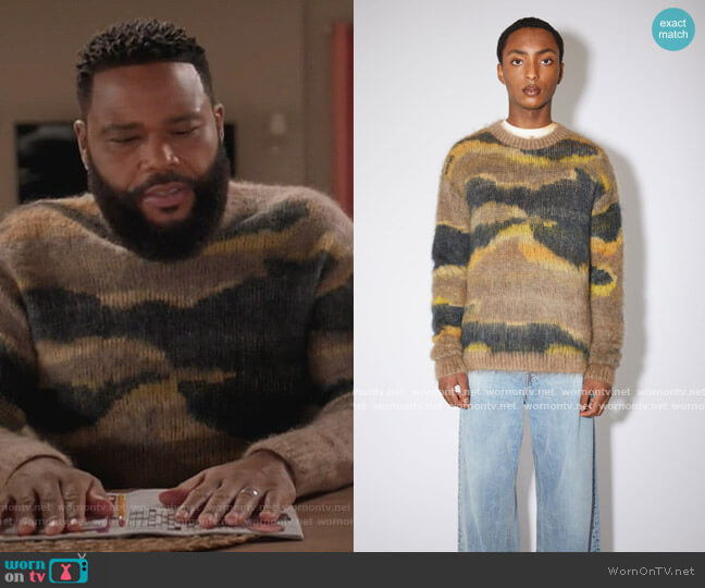 Mohair blend sweater multi beige by Acne Studios worn by Andre Johnson (Anthony Anderson) on Blackish