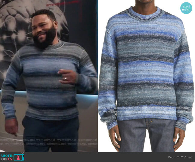 Stripe Cotton Blend Sweater by Acne Studios worn by Andre Johnson (Anthony Anderson) on Blackish