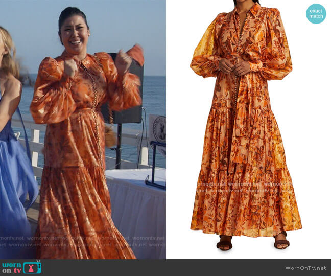 Naples Puff-Sleeve Maxi Dress by Acler worn by Sherri Kansky (Ruthie Ann Miles) on All Rise
