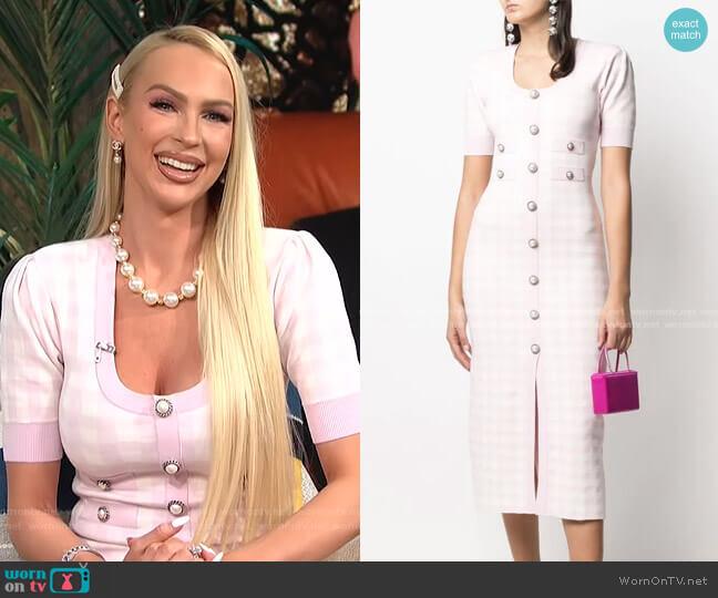 Gingham Check Print Dress by Alessandra Rich worn by Christine Quinn on E! News Daily Pop