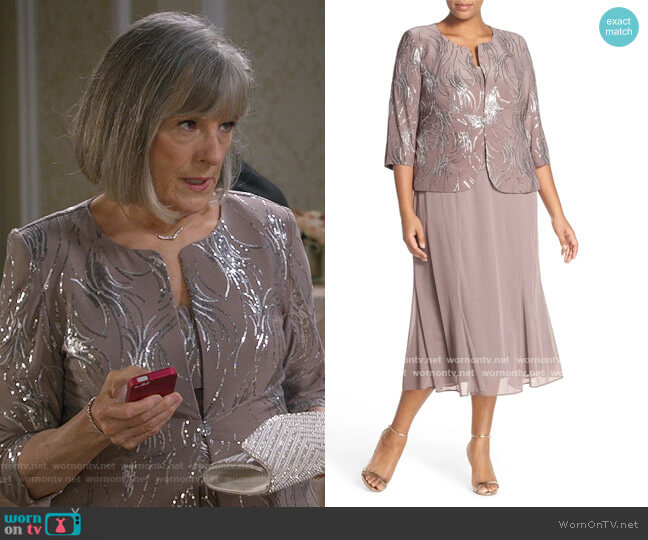 Sequin Mock Two-Piece Dress with Jacket by Alex Evenings worn by Mimi Kennedy on Mom