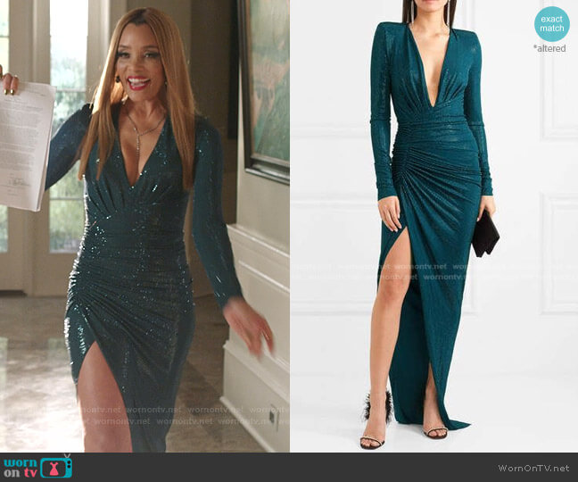 Crystal-Embellished Ruched Gown by Alexandre Vauthier worn by Dominique Deveraux (Michael Michele) on Dynasty