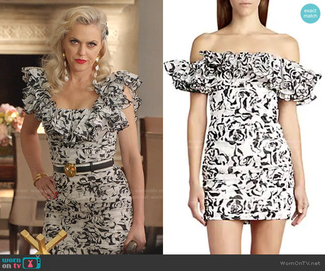 Graphic Floral Cotton Voile Off-The-Shoulder Mini Dress by Alexandre Vauthier worn by Alexis Carrington (Elaine Hendrix) on Dynasty