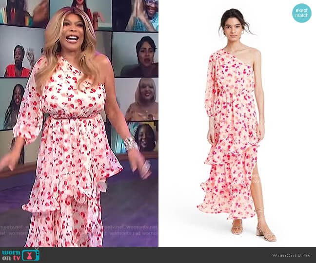 Floral One Shoulder Ruffle Dress by Alexis for Target worn by Wendy Williams  on The Wendy Williams Show
