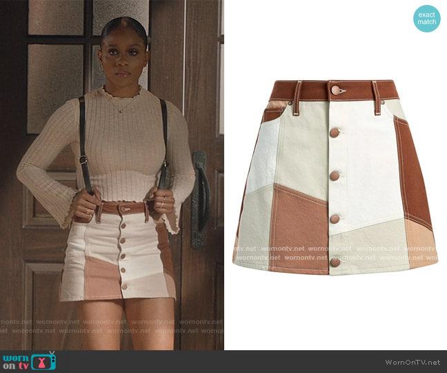 Good High-Rise Patchwork Mini Skirt by Alice + Olivia worn by Simone Hicks (Geffri Maya) on All American