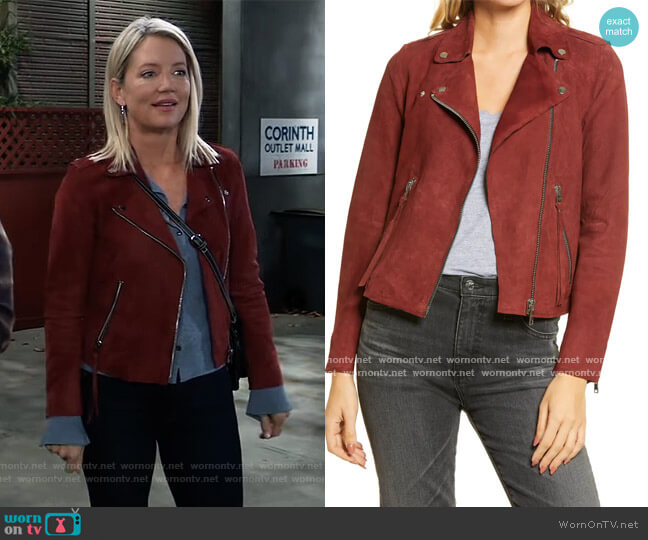 Dalby Redge Suede Moto Jacket by All Saints worn by Nina Reeves (Cynthia Watros) on General Hospital