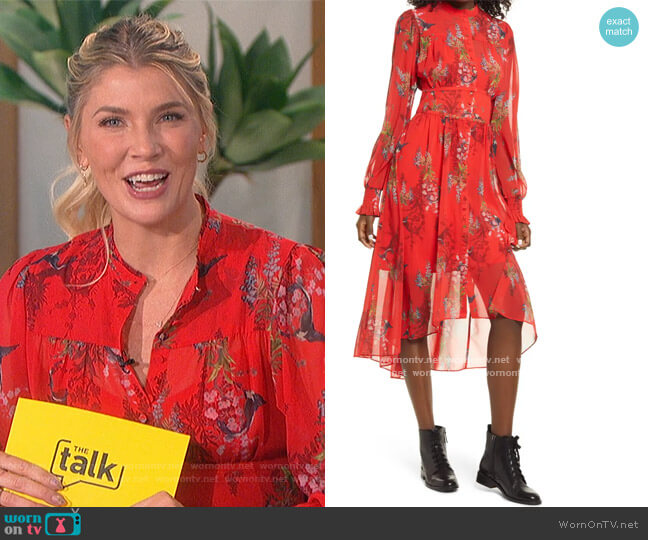 eonie Melisma Floral High/Low Long Sleeve Dress by All Saints worn by Amanda Kloots  on The Talk